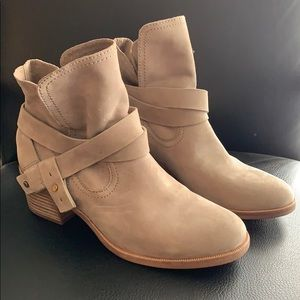 UGG Suede Ankle Booties with Strap Detail
